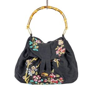 Anthropologie Embroidered Tote Bamboo Top Handle